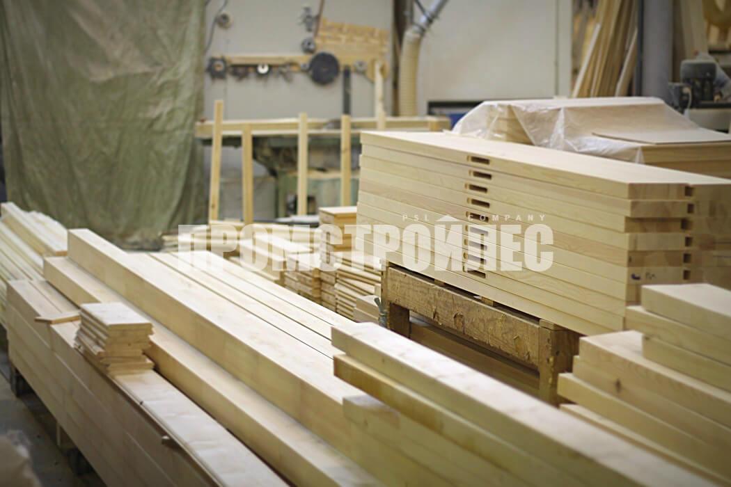 Производство деревянных лестниц из клееного бруса «Промстройлес»
