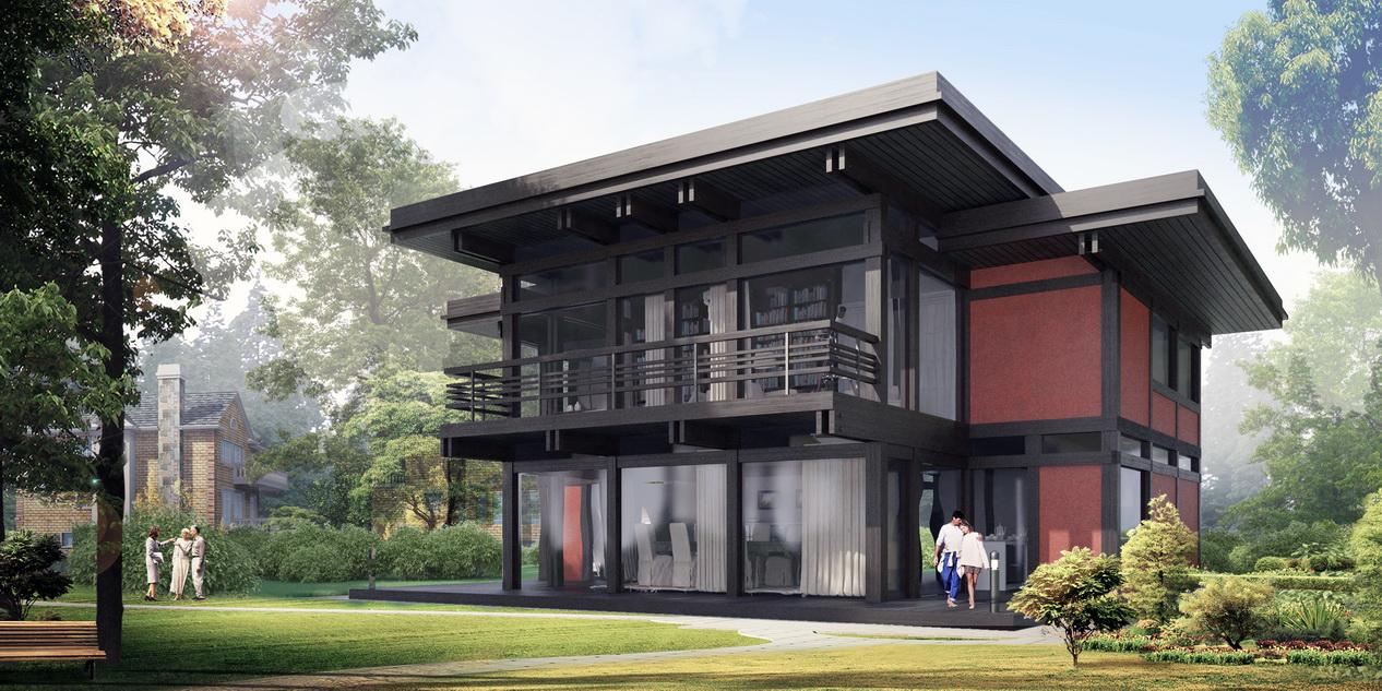 проект дома в стиле фахверк Модерн