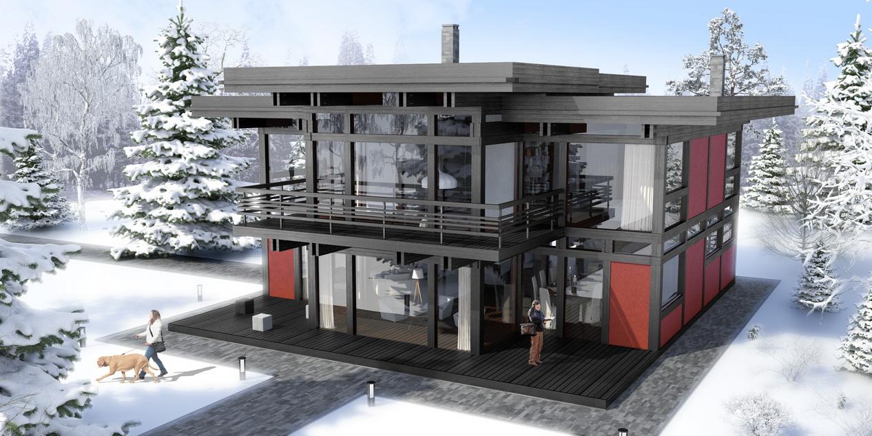 двухэтажный фахверковый дом Модерн в черном цвете