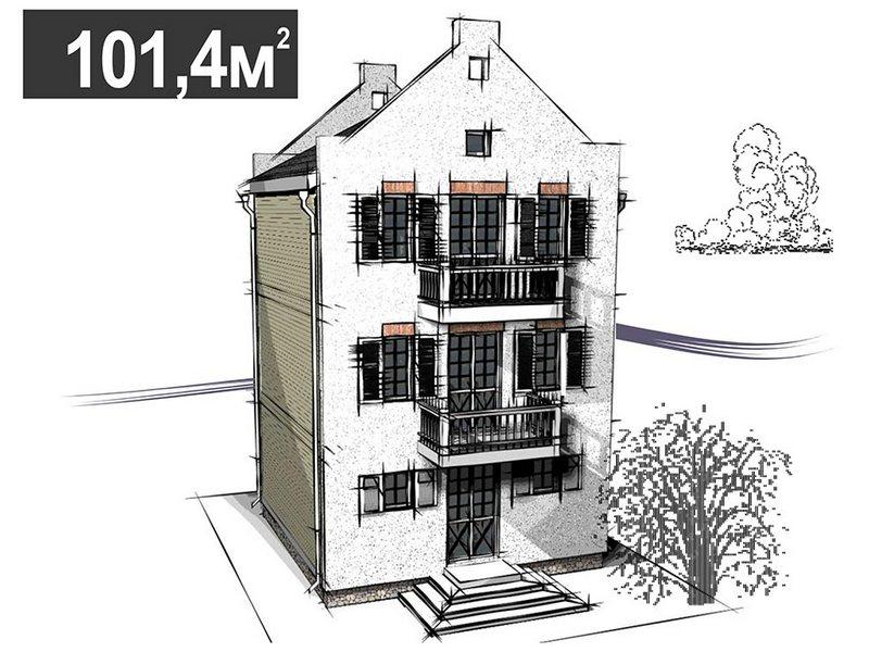 Трехэтажный дом с четырьмя спальнями в голландском стиле. 101,4 кв.м