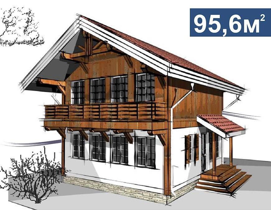 Проект шале в альпийском стиле площадью 95,6 кв.м