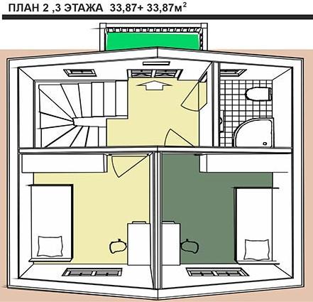 Планы второго и третьего этажей дома в  голландском стиле. 101,4 кв.м