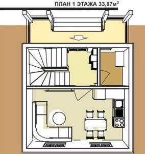 план 1 этажа трехэтажного альпийского шале площадью 101,4 кв.м