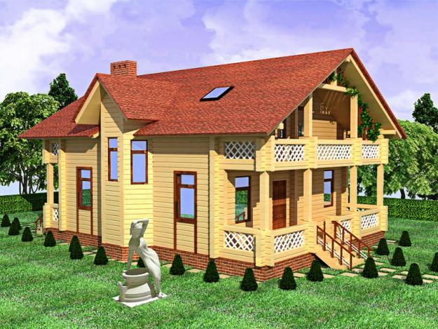 строительство каркасно-панельных домов, обшитых клееным брусом