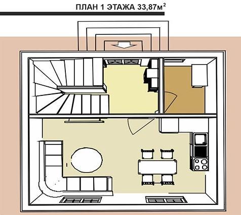 План первого этажа голландского дома площадью 101,4 кв.м