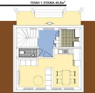 План 1 этажа шале в австрийском стиле площадью 91,6 кв.м