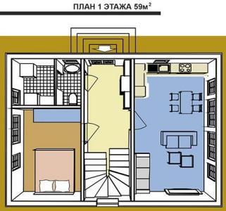 план первого этажа. Площадь австрийского домика 118 кв. м