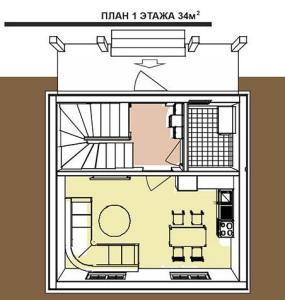 План 1-го этажа австрийского дома площадью 68 м кв.