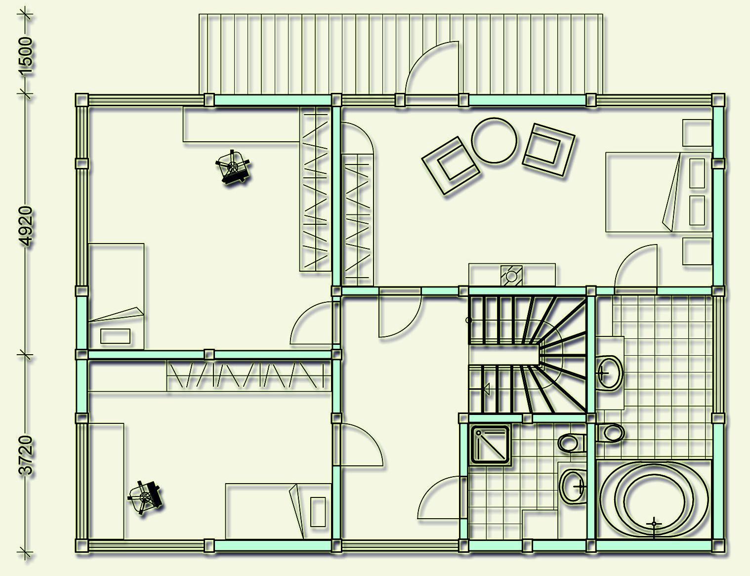 Проект фахверкового коттеджа MCF210 - план второго этажа