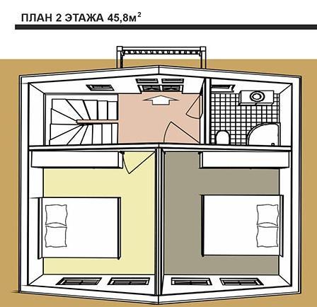 Голландский стиль. План второго этажа двухэтажного дома