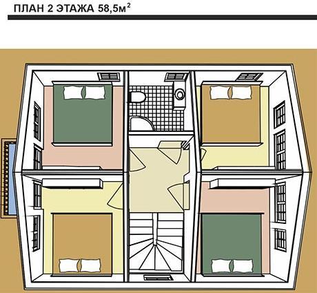 Дом в голландском стиле. План второго этажа с четырьмя спальнями