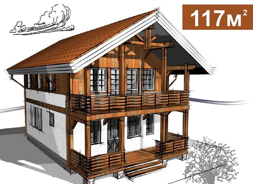 Альпийская хижина (дом в австрийском стиле) площадью 117 кв.м