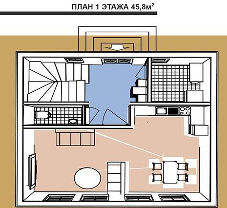 Голландский стиль. План первого этажа двухэтажного дома
