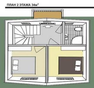 План второго этажа дома в голландском стиле площадью 68 кв. м