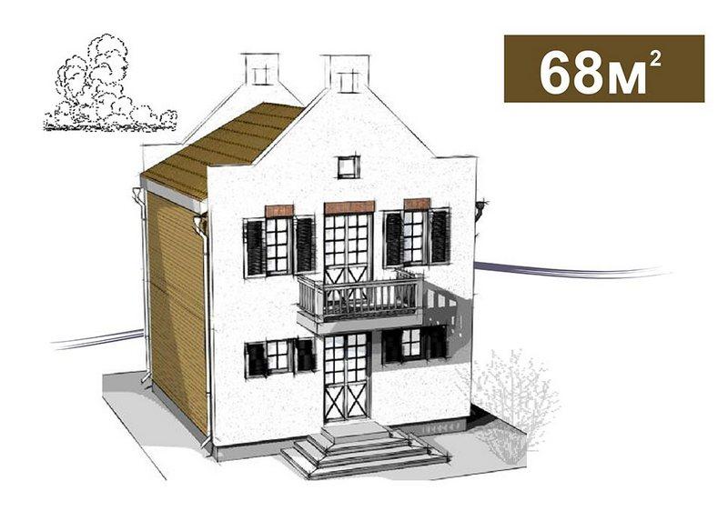 Двухэтажный дом в голландском стиле площадью 68 кв.м