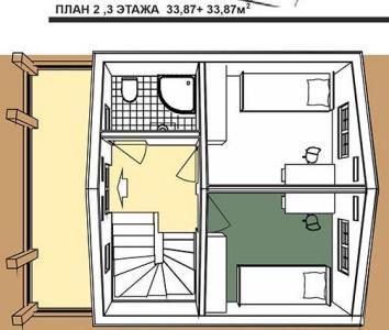 план 2 и 3 этажей дома в австрийском стиле площадью 101,4 кв.м