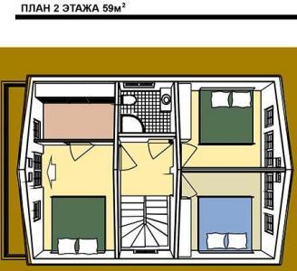 план 2 этажа дома в австрийском стиле. Общая S=118 м кв.