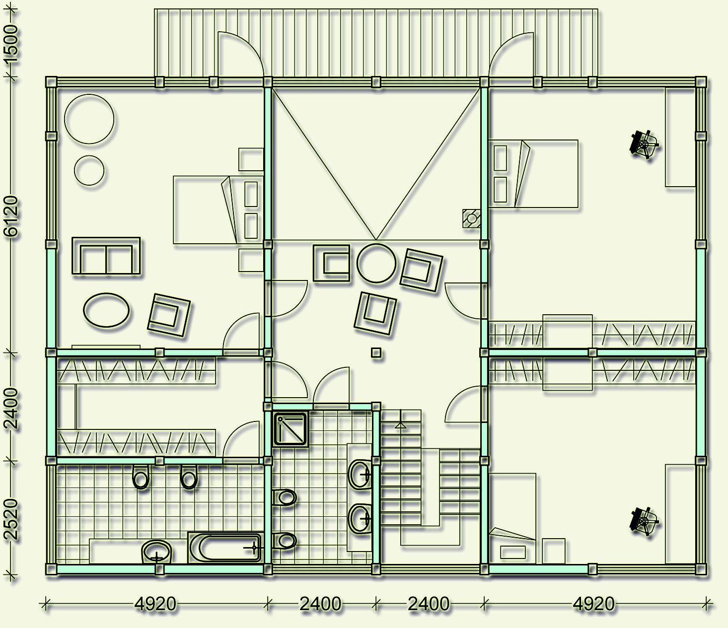Проект фахверкового коттеджа MCF320 - план второго этажа