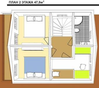 план 2 этажа австрийского дома площадью 95,6 кв.м