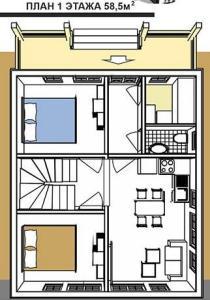 1 этаж двухэтажного шале общей площадью 117 м кв.