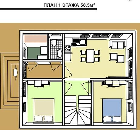 Дом в голландском стиле. План первого этажа с двумя спальнями