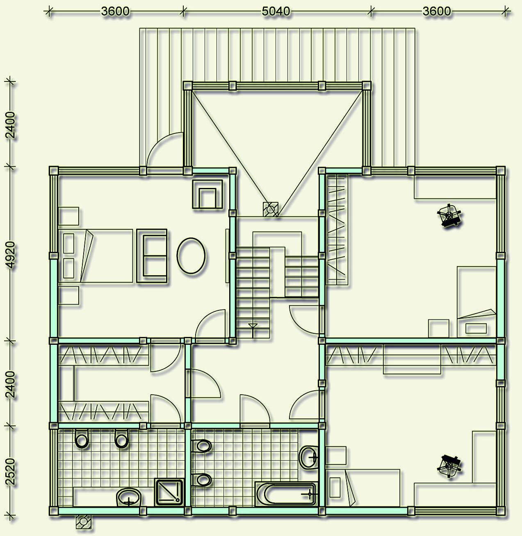 Проект фахверкового коттеджа MCF255 - план второго этажа