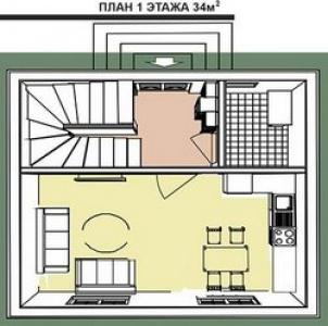 План первого этажа дома общей площадью 64 м кв.