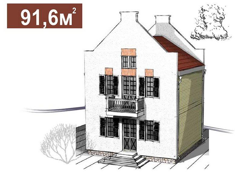 Двухэтажный дом в голландском стиле площадью 91,6 м2