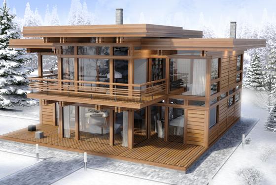 двухэтажный фахверковый дом Модерн