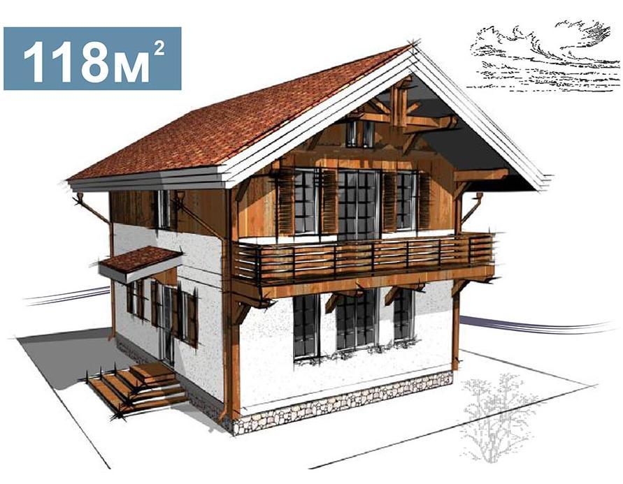 проект альпийской хижины (шале) площадью 118 м кв.