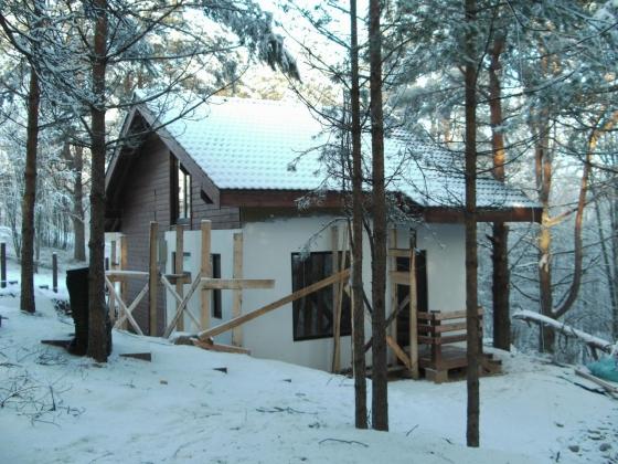 Процесс строительства дома и отделки фасада под фахверк