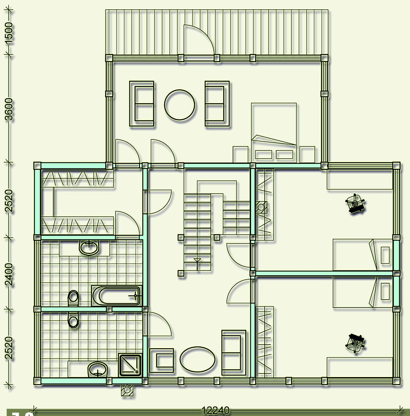 Проект фахверкового коттеджа MCF235 - план второго этажа