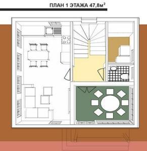 1 этаж дома в австрийском стиле площадью 95,6 кв.м