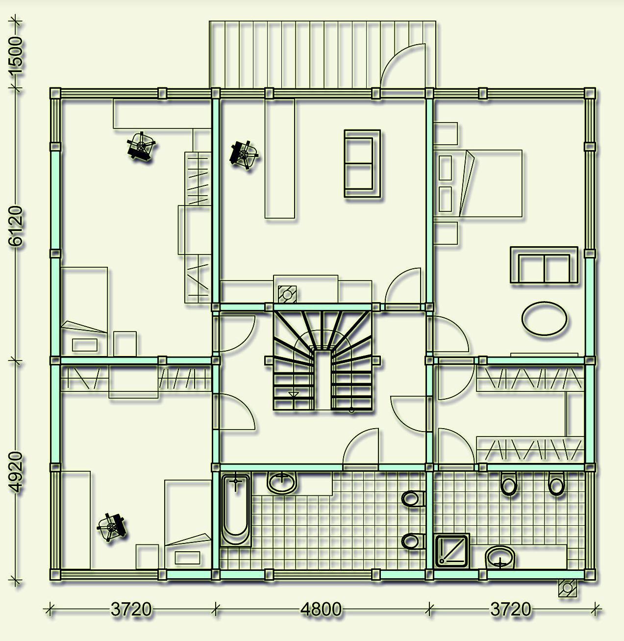 Проект фахверкового коттеджа MCF270 - план второго этажа