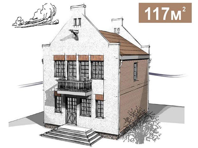 Дом в голландском стиле. 2 этажа. 6 спален. 117 кв.м