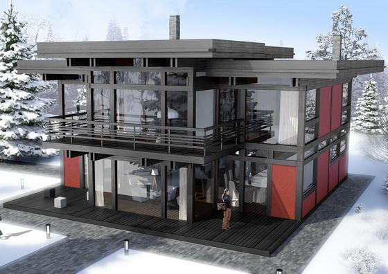 двухэтажный фахверковый дом Вальма в черном цвете