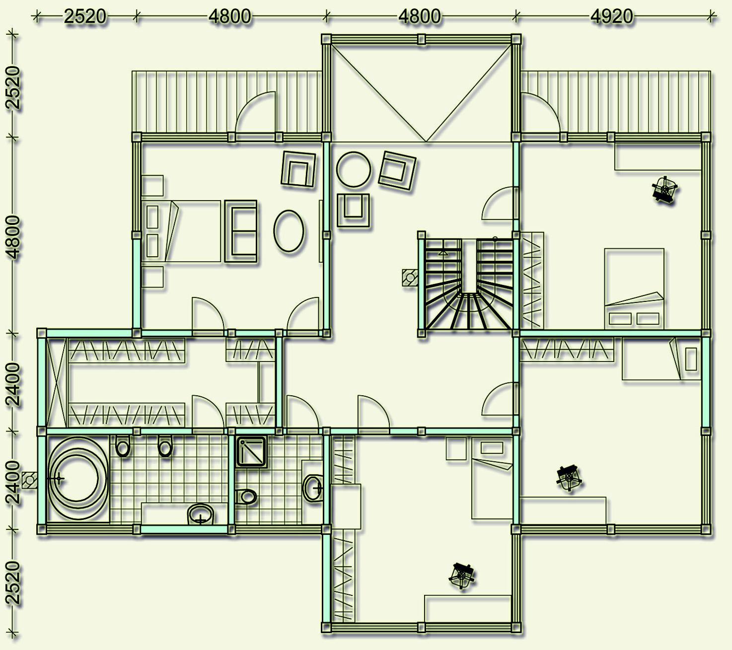 Проект фахверкового коттеджа MCF360 - план второго этажа