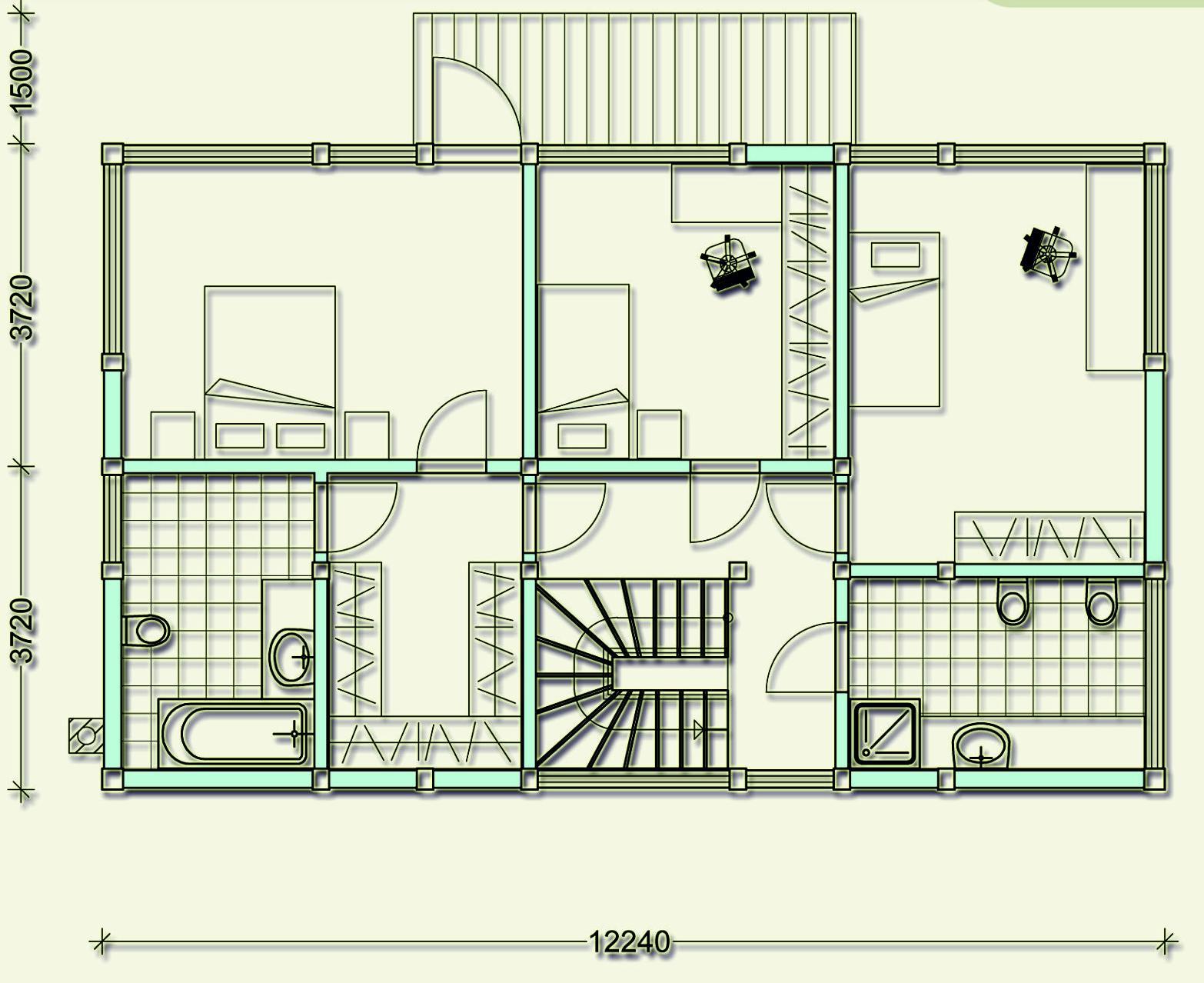 Проект фахверкового коттеджа MCF180 - план первого этажа