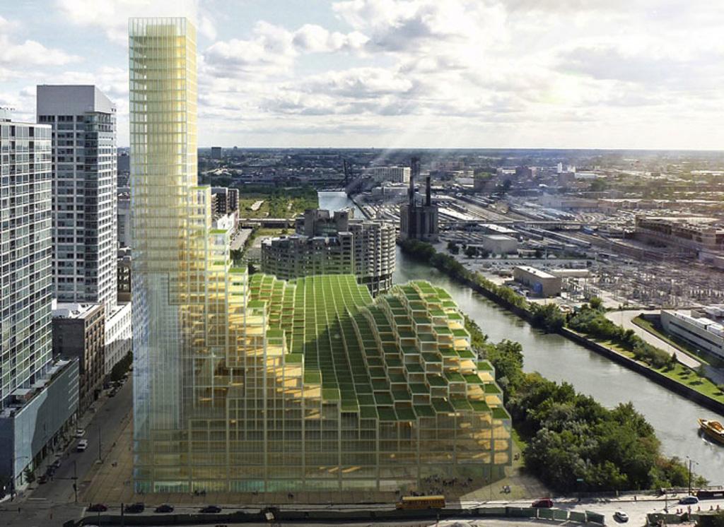 Америка (Чикаго) - небоскрёб из клееных стеновых панелей из дерева CLT